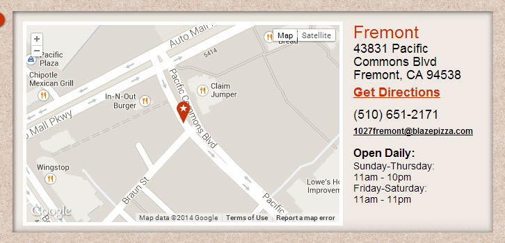blaze free pizza location